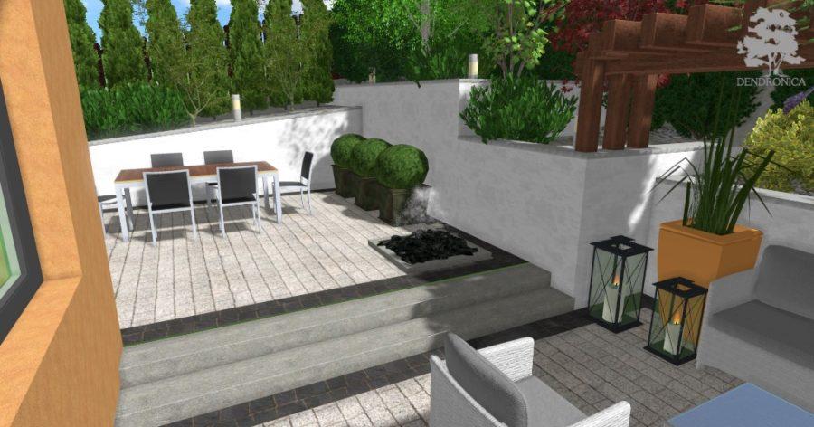 fontanna w ogrodzie - projekt małego ogrodu