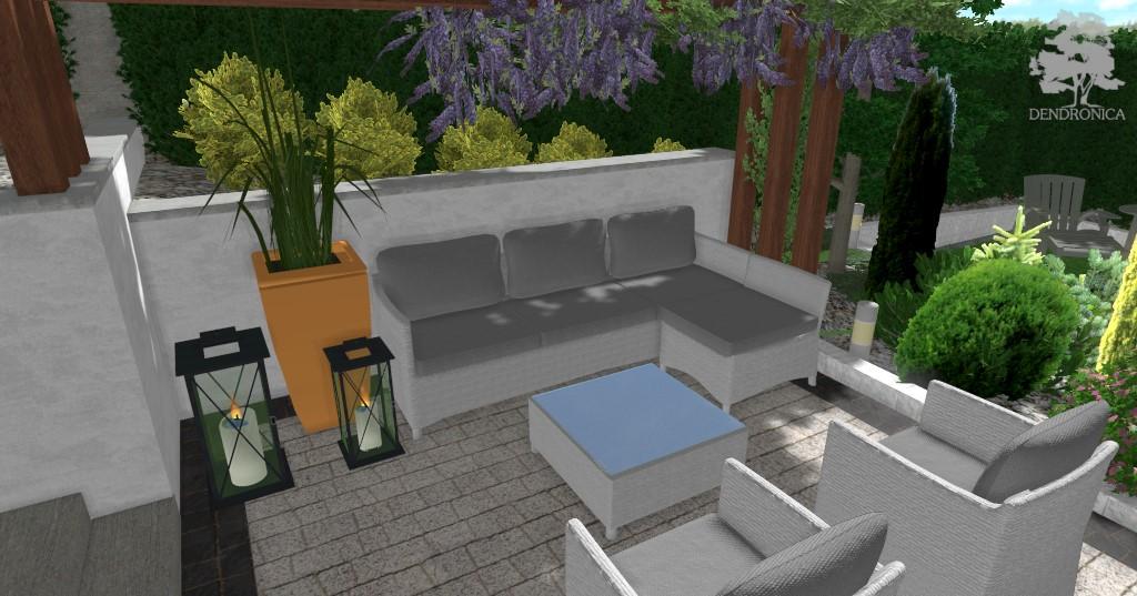 wisteria, pergola, taras, patio, lampiony