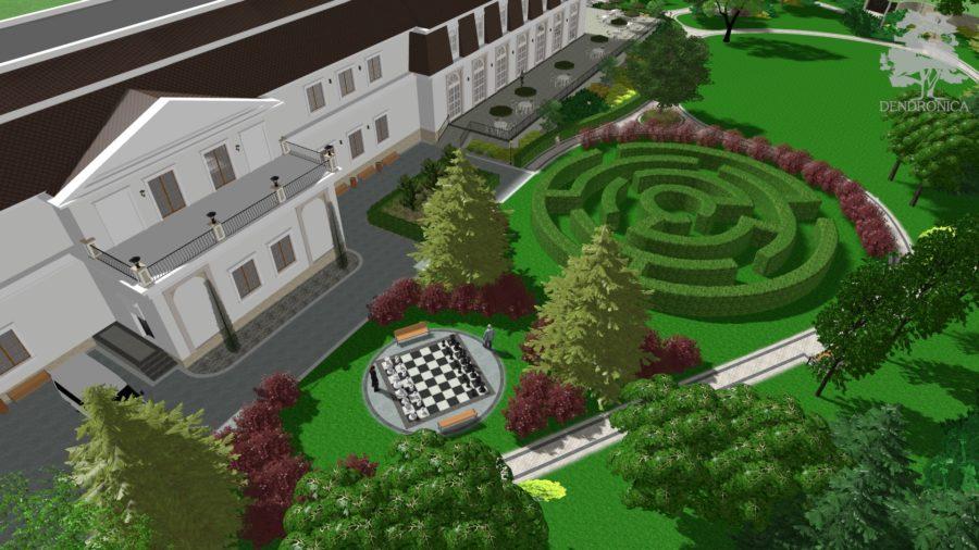 zieleń przy domu weselnym, widok na labirynt i szachy