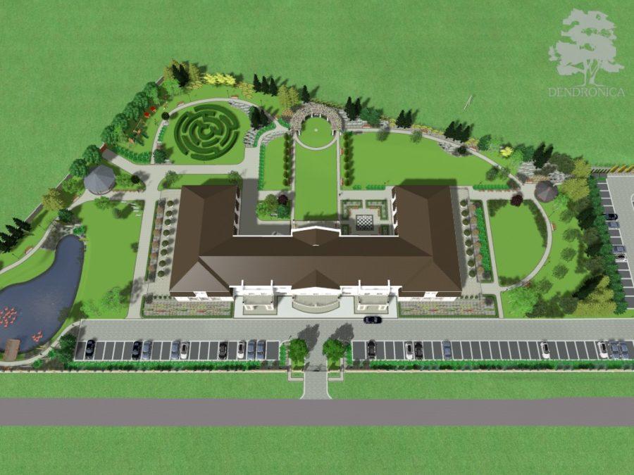 plan zagospodarowania ogrodu przy domu weselnym