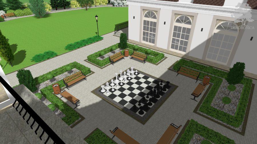 zieleń przy domu weselnym, szachy