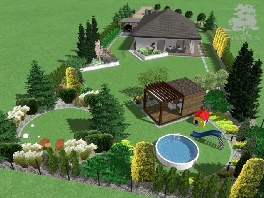 ogród z miejscem zabaw dla dzieci