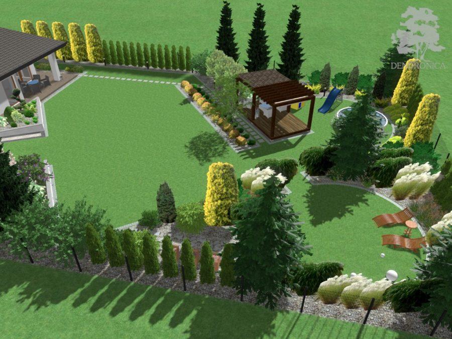 skośny ogród nowoczesny