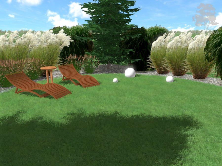 ogród traw, nowoczesny ogród, kule świetlne