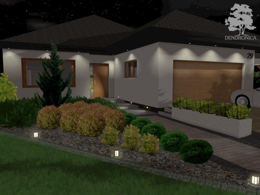 projekt ogrodu - front oświetlenie