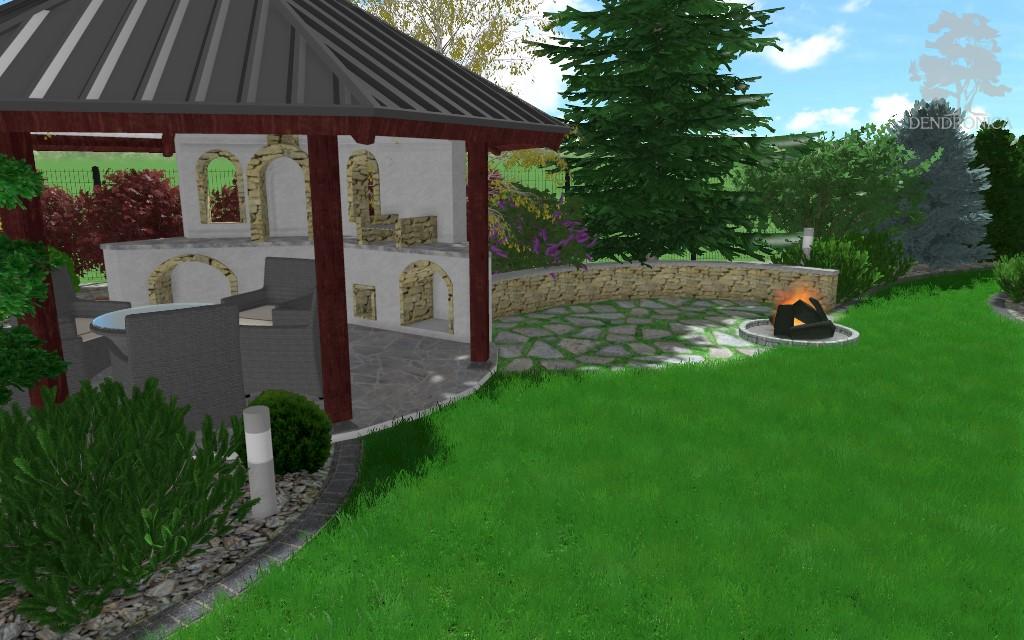 altana rustykalna z paleniskiem - projekt