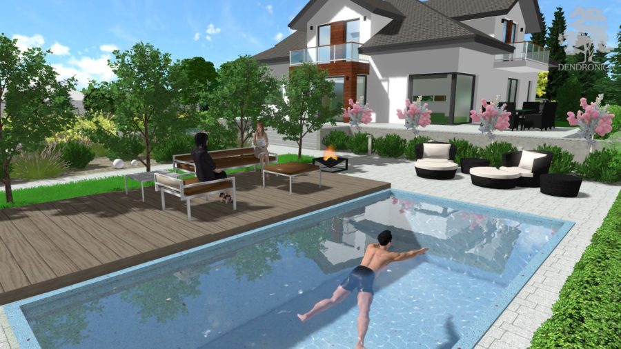 pool in garden - render 3D