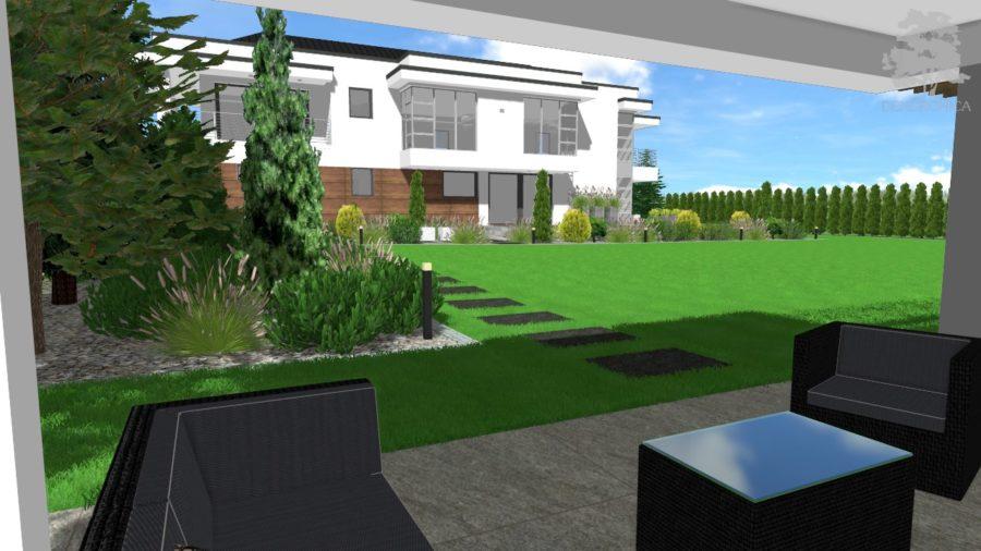 nowoczesny ogród - wizualizacja 3D