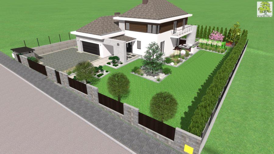 nowoczesne ogrodzenie - wizualizacja 3D