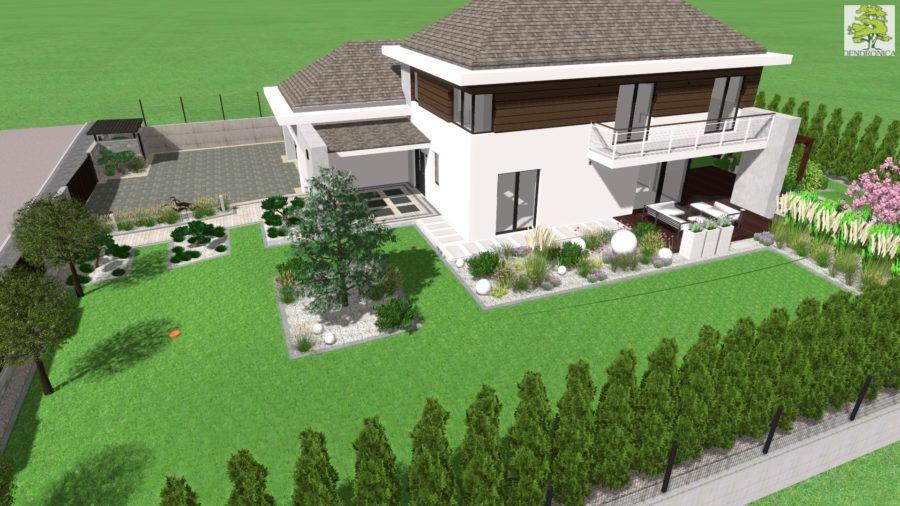 nowoczesny ogród w Dyminach