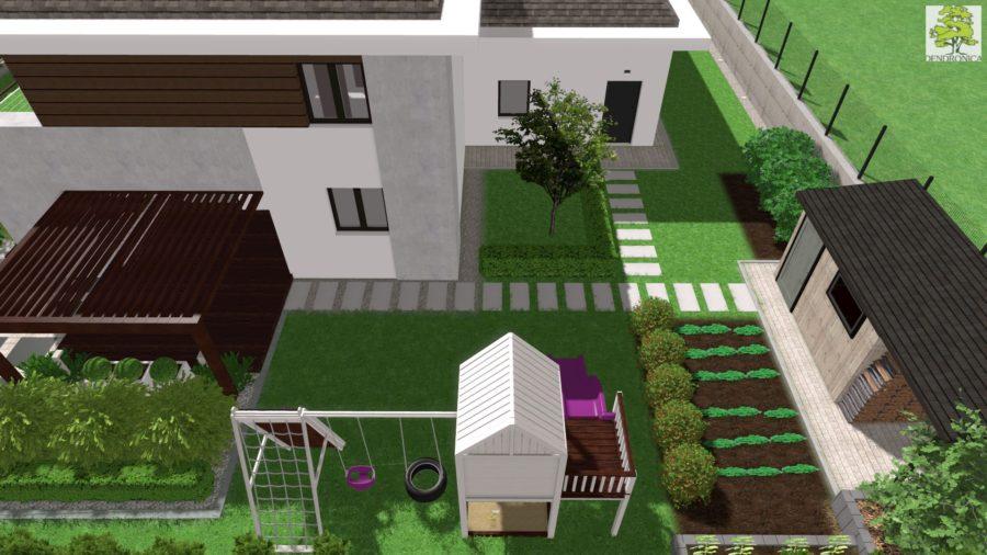 ogródek warzywny w nowoczesnym ogrodzie