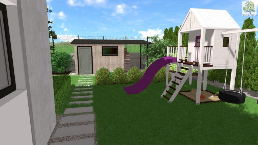 plac zabaw w małym ogrodzie