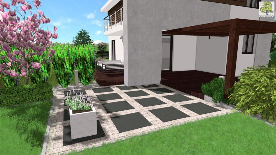 nowoczesny ogród w Dyminach pod Kielcami