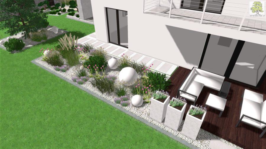 nowoczesny ogród - kompozycja betonowych kul, kosodrzewiny i czosnków