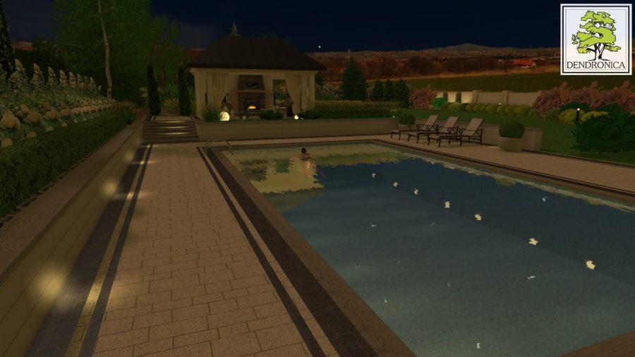 luksusowy ogród z pełnowymiarowym basenem