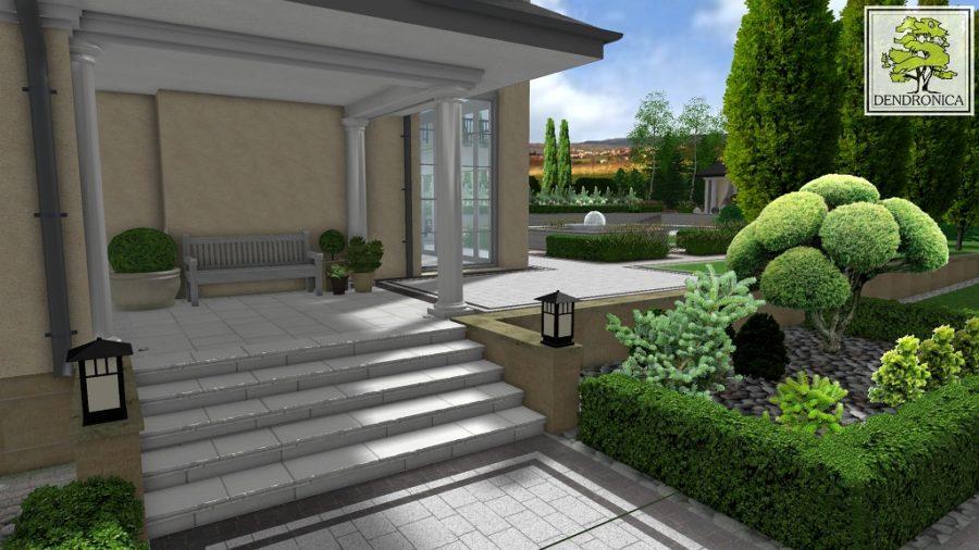 projekt ogrodu - schody boczne