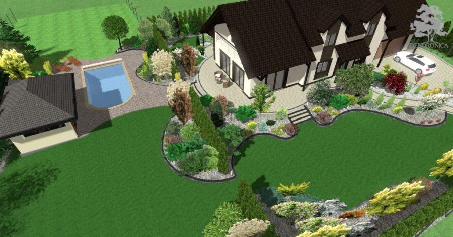 dendronica - ogród z małym basenem