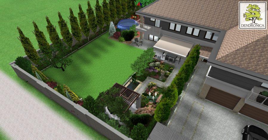 mały ogród miejski z pergolą i oczkiem wodnym