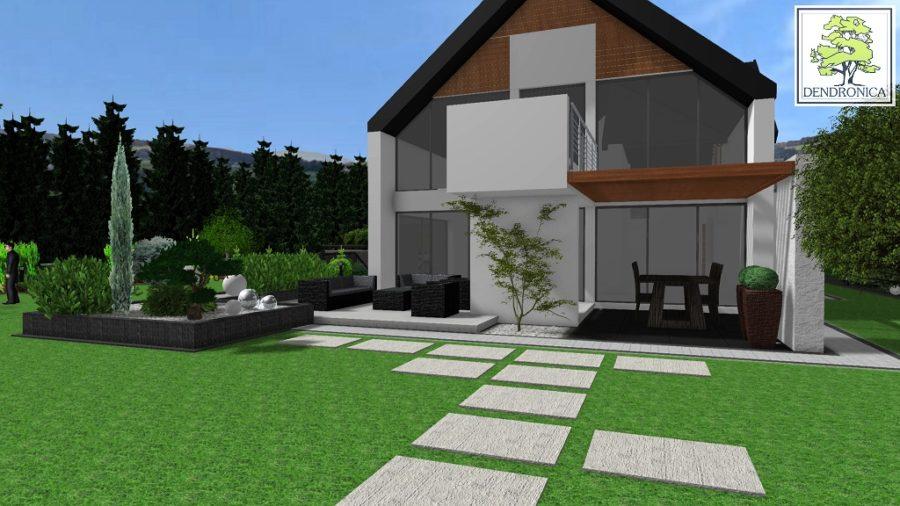 nowoczesny ogród z widokiem