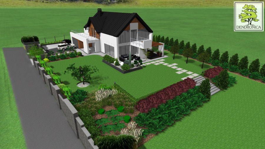nowoczesny ogród z wykorzystaniem dużych płyt betonowych