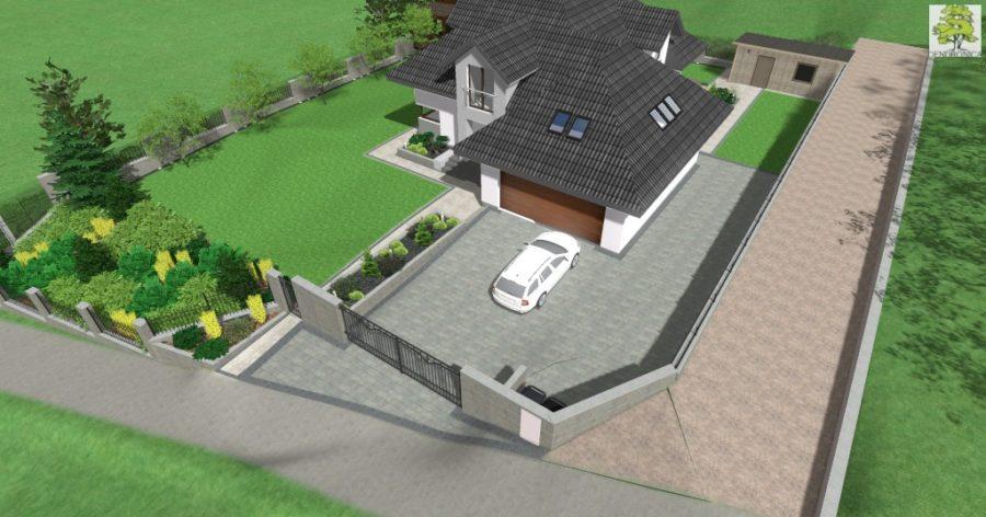 brama wjazdowa - projekt ogrodzenia