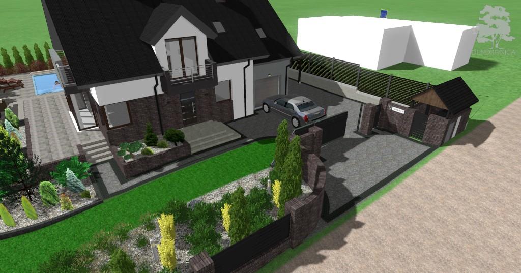 klinkierowe ogrodzenie - projekt ogrodu