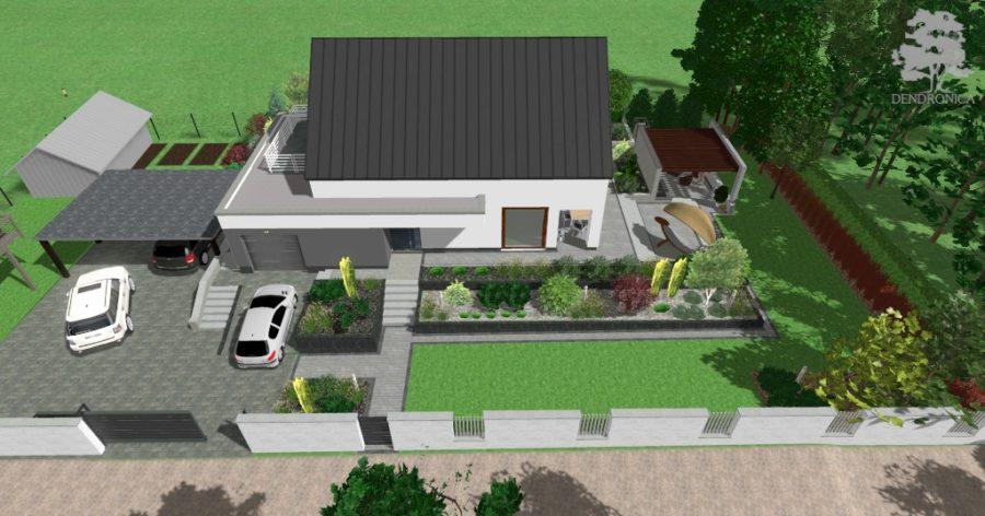 nowoczesny ogród z kilkoma poziomami