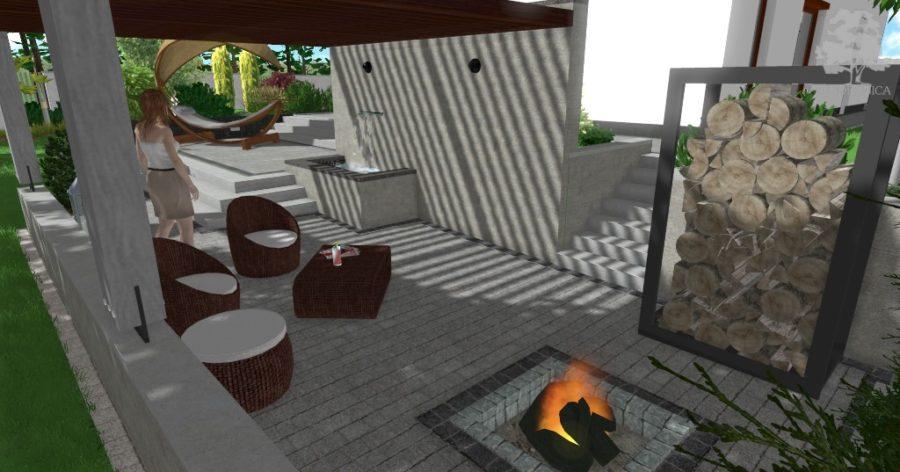 nowoczesny ogród z pergolą