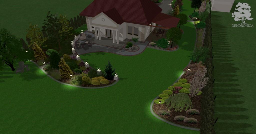 projekt ogrodu przy domu typu dworek