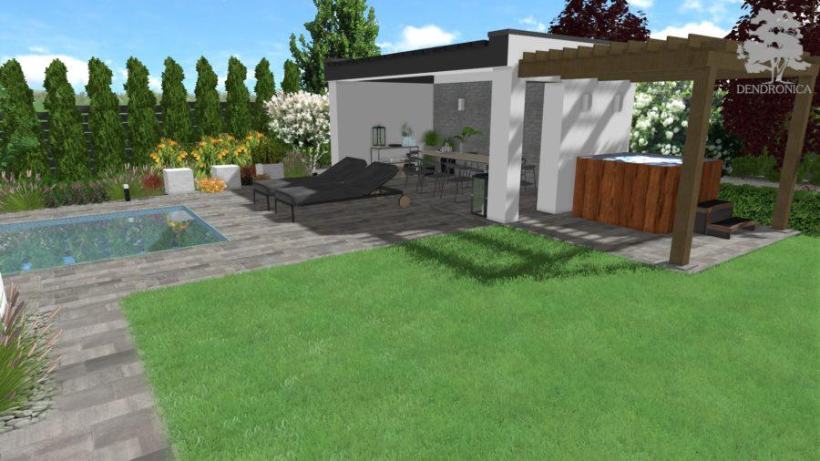 projekt ogrodu - basen i pawilon ogrodowy