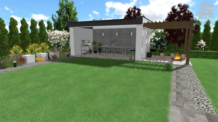 nowoczesna altana z pergolą - projekt ogrodu