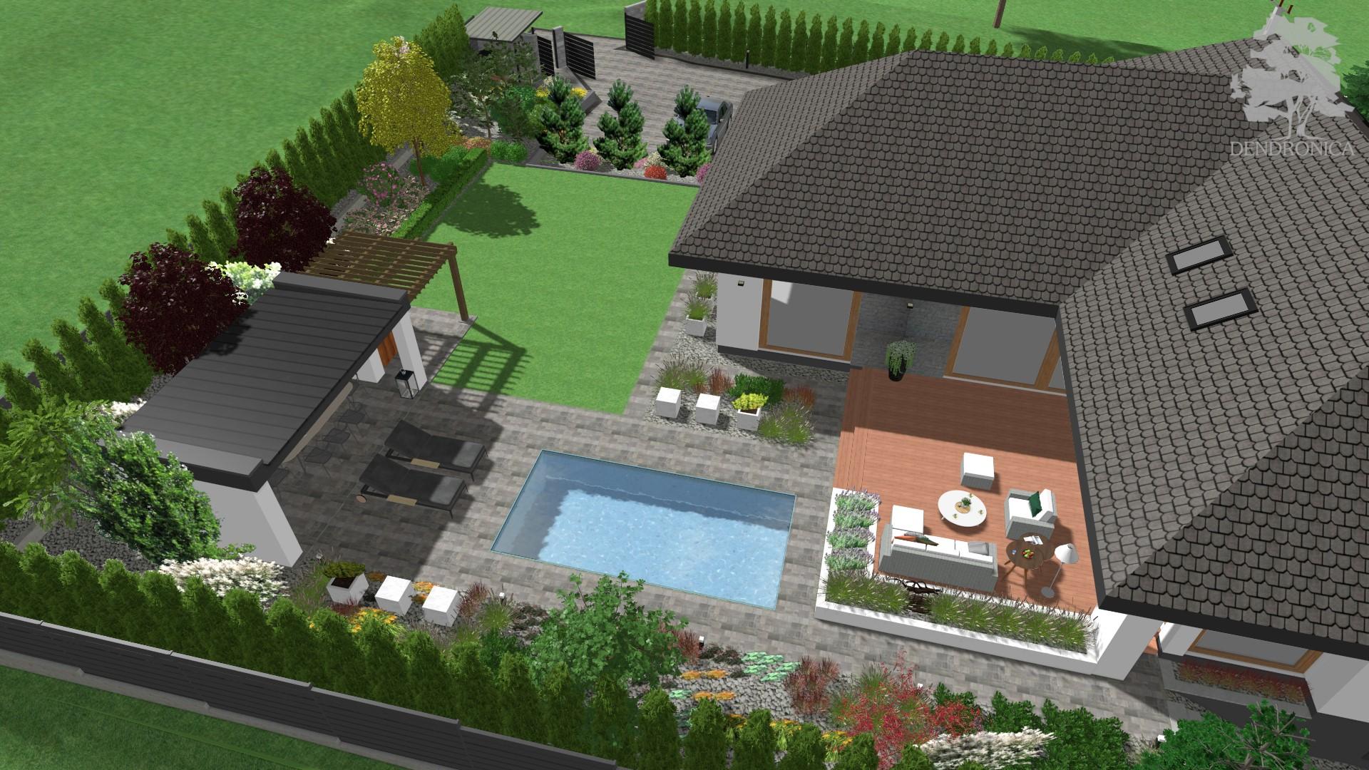 nowoczesny ogród z basenem
